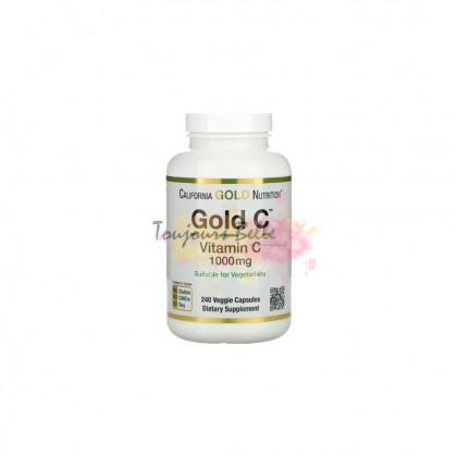 CALIFORNIA GOLD NUTRITION Gold C Vitamin C 1000mg Veggie Capsules 240 Count 1000毫克维他命C【240颗】