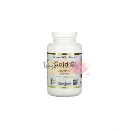 CALIFORNIA GOLD NUTRITION Gold C Vitamin C 500mg Veggie Capsules 240 Count 500毫克维他命C【240颗】